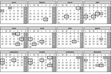 Calendario de Días Inhábiles para 2014, Gobierno de España